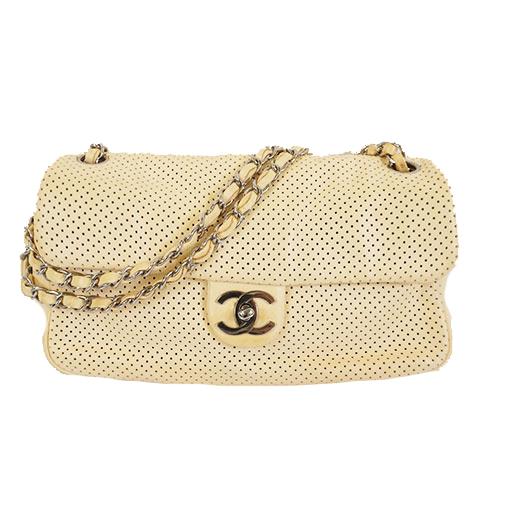 Auth Chanel W Chain Women's Leather Shoulder Bag Light Beige
