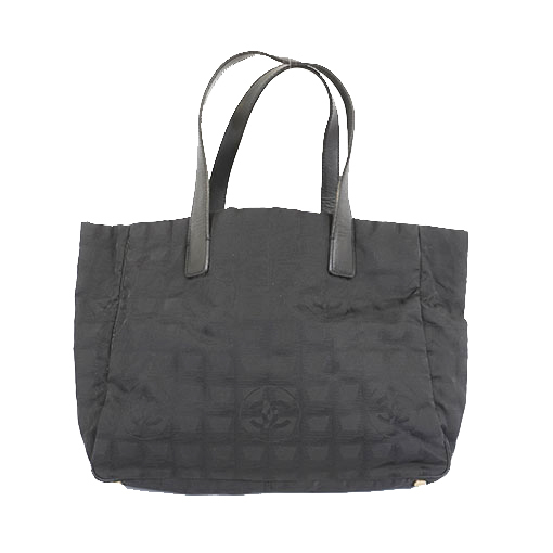 Auth Chanel New Travel Line Women's Nylon Canvas Handbag,Shoulder Bag,Tote Bag Black