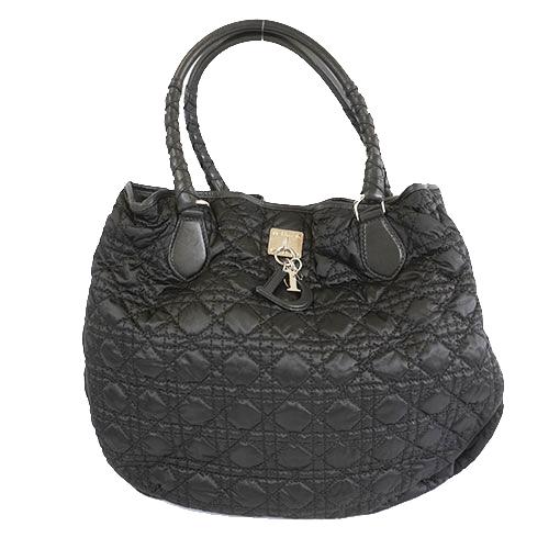 Auth Christian Dior Canage Women's Nylon Handbag,Shoulder Bag,Tote Bag Black