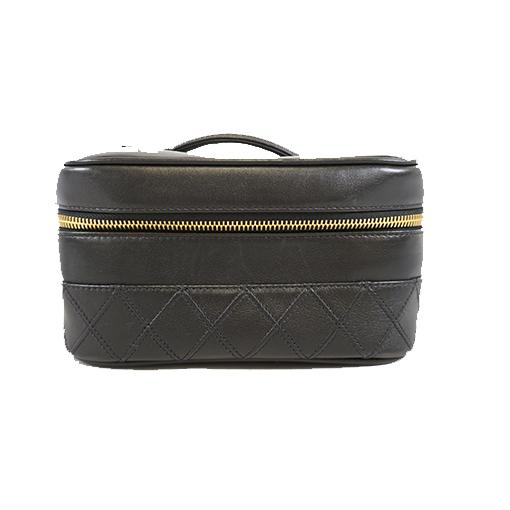 Auth Chanel Bicolor  Vanity Bag Women's Leather Vanity Bag Black