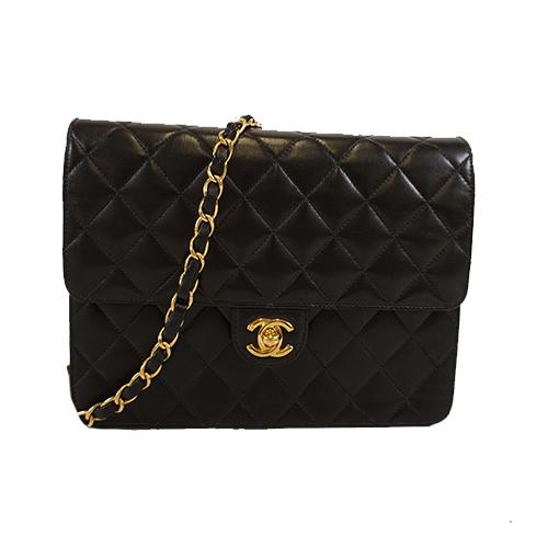 Auth Chanel Matelasse Single Chain Women's Leather Shoulder Bag Black