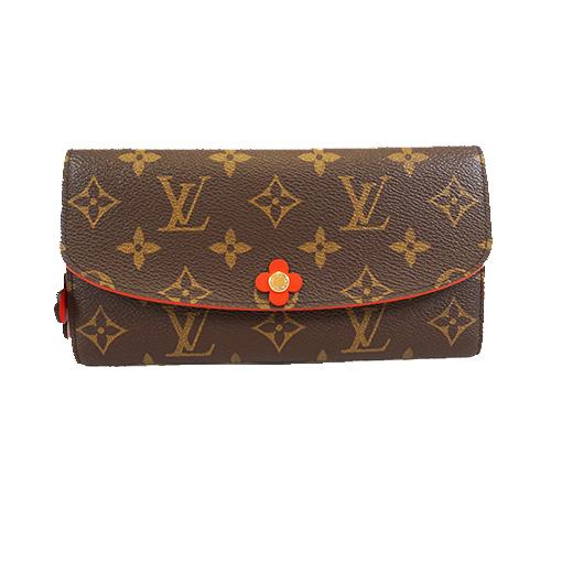 Auth Louis Vuitton Monogram M61734 Women's Monogram Long Wallet (bi-fold) Coquelicots
