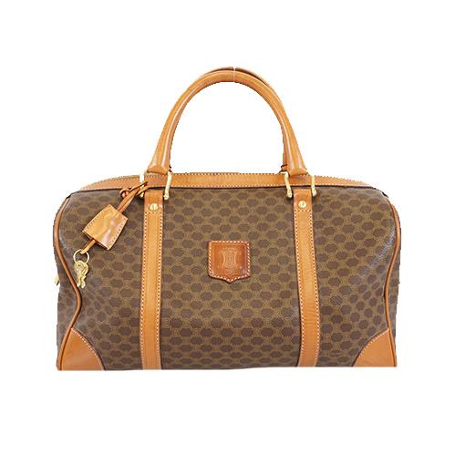Auth Celine Macadam Boston Bag Women's PVC Boston Bag,Handbag Brown