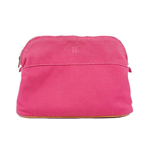 Auth Hermes Bolide Bored Pouch MM Women's Canvas Pouch Pink