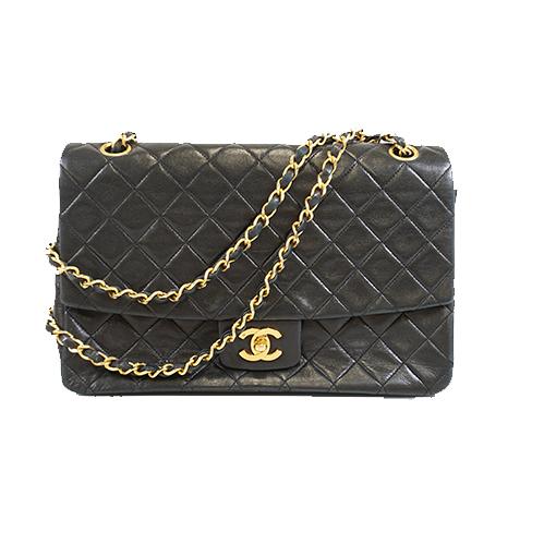 Auth Chanel Matelasse W Flap W Chain Women's Leather Shoulder Bag Black