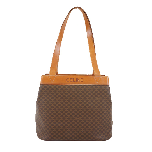 Auth Celine Macadam Tote Bag Women's PVC Handbag,Tote Bag Brown