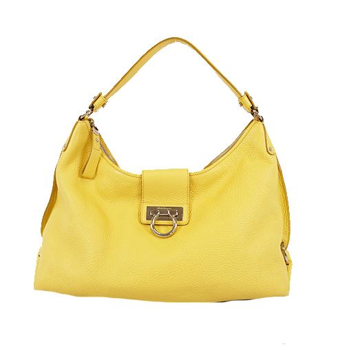 Auth Salvatore Ferragamo Gancini Shoulder Bag Women's Leather Shoulder Bag Yellow