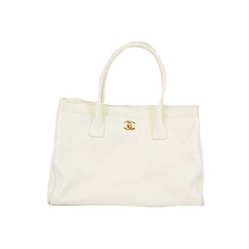 Auth Chanel Matelasse Executive Tote Women's Caviar Leather Handbag,Shoulder Bag,Tote Bag White