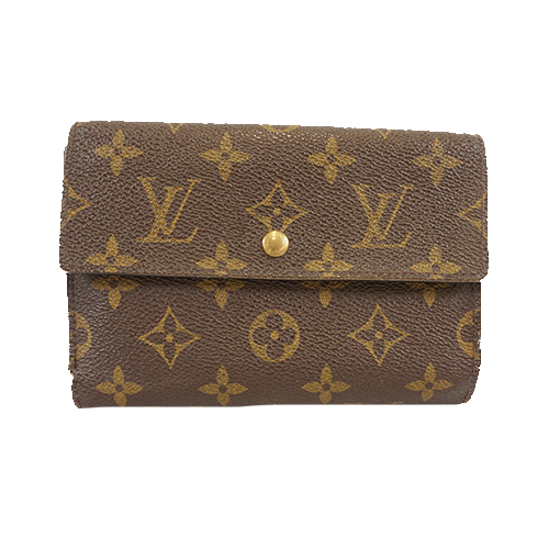 Auth Louis Vuitton Monogram Porto Tresor Etui Papier M61202 Men,Women,Unisex Monogram Wallet (bi-fold) Monogram