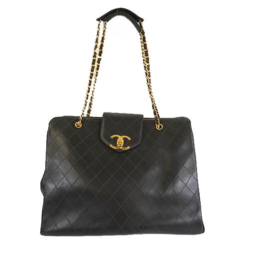 Auth Chanel Bicolor Women's Leather Shoulder Bag Black