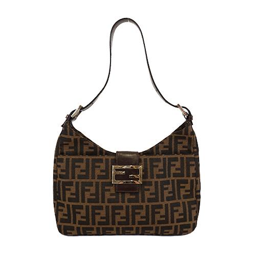 Auth Fendi Zucca Shoulder Bag Women's Nylon Canvas Shoulder Bag Brown