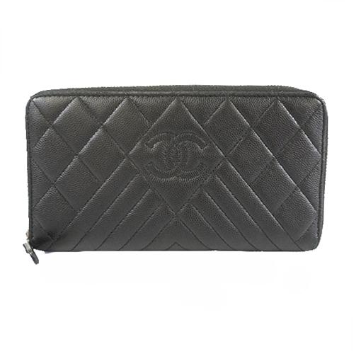 Auth Chanel Chevron (V Stitch) Bi-fold Wallet Matrasse Women's  Caviar Leather Long Wallet (bi-fold) Black