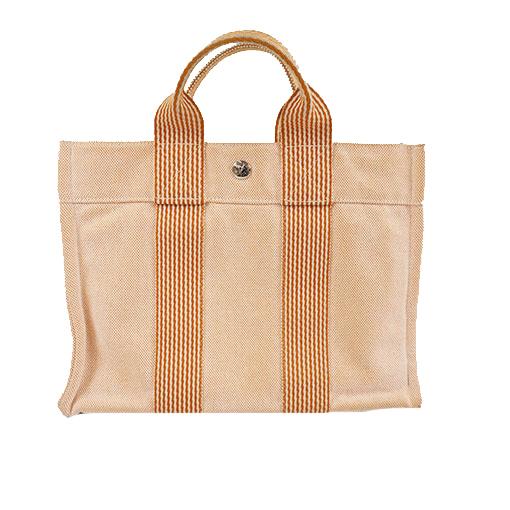 Auth Auth Hermes Fool Toe Women's Canvas Handbag Orange
