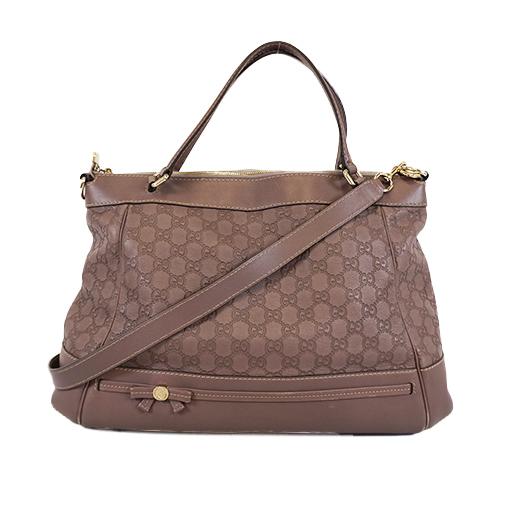Auth Gucci Guccissima 2way Bag 257349 Women's Leather Handbag,Shoulder Bag,Tote Bag Brown