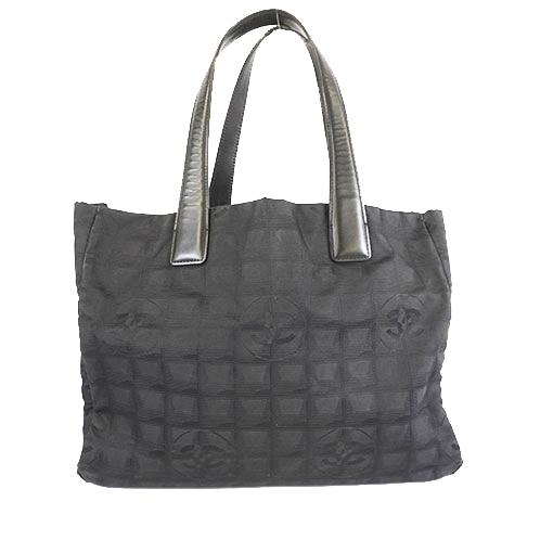 Auth Chanel New Travel Line A30916 Women's Nylon Canvas Handbag,Shoulder Bag,Tote Bag Black