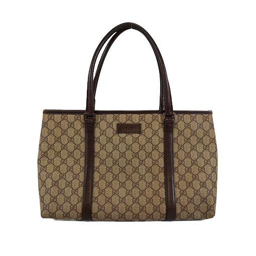 Auth Gucci 114595 Women's GG Supreme Tote Bag Beige