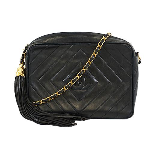 Auth Chanel V-stitch Chain Shoulder With Fringe Women's Leather Shoulder Bag Black