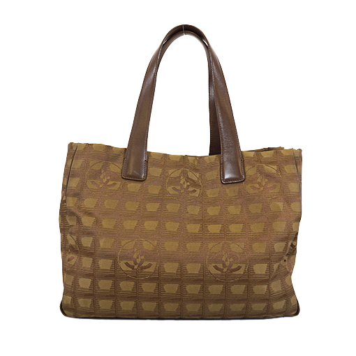 Auth Chanel New Travel Line Totebag Women's Nylon Canvas Handbag,Shoulder Bag,Tote Bag Khaki