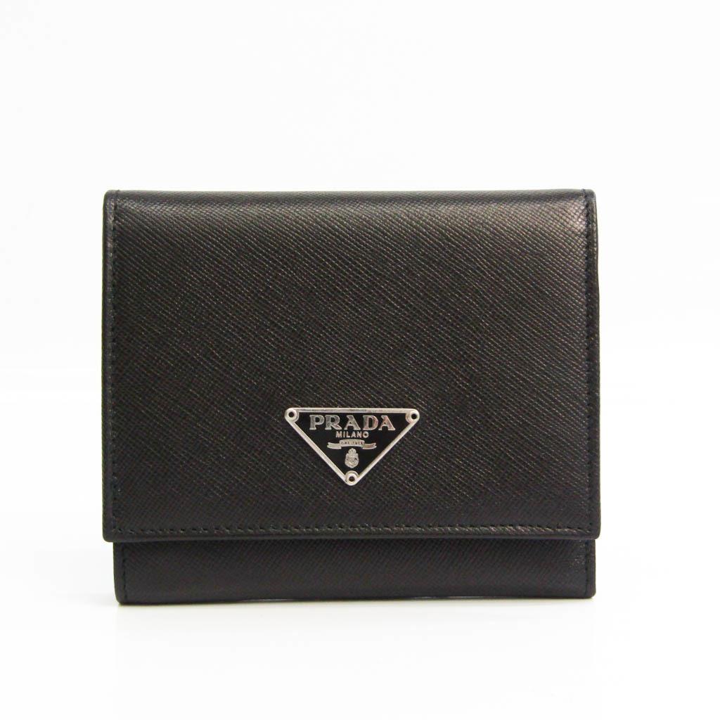 プラダ(Prada) サフィアーノ M176X ユニセックス Saffiano 財布(三つ折り) ブラック
