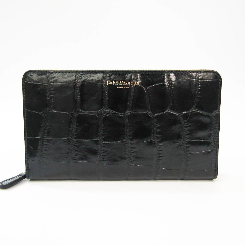 ジェイアンドエムデヴィッドソン(J&M Davidson) レディース  型押しレザー 長財布(二つ折り) ブラック