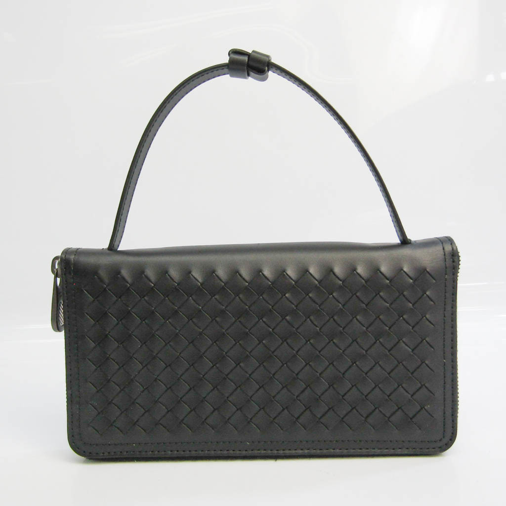 ボッテガ・ヴェネタ(Bottega Veneta) イントレチャート オーガナイザー メンズ  カーフスキン 長財布(二つ折り) ブラック