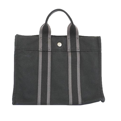 エルメス トートバッグ フールトゥPM キャンバス ブラック シルバー金具