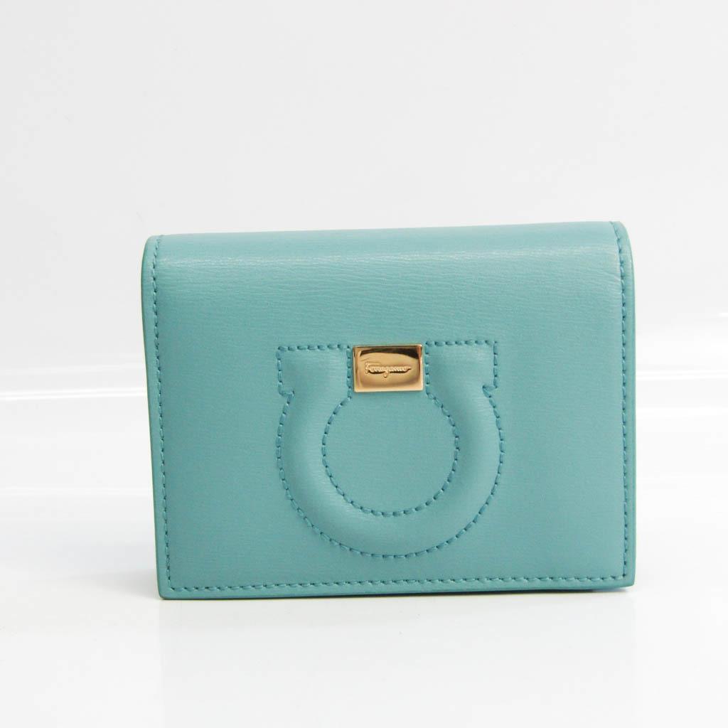 サルヴァトーレ・フェラガモ(Salvatore Ferragamo) ガンチーニ JL-22 D514 レディース レザー 財布(二つ折り) ブルーグリーン
