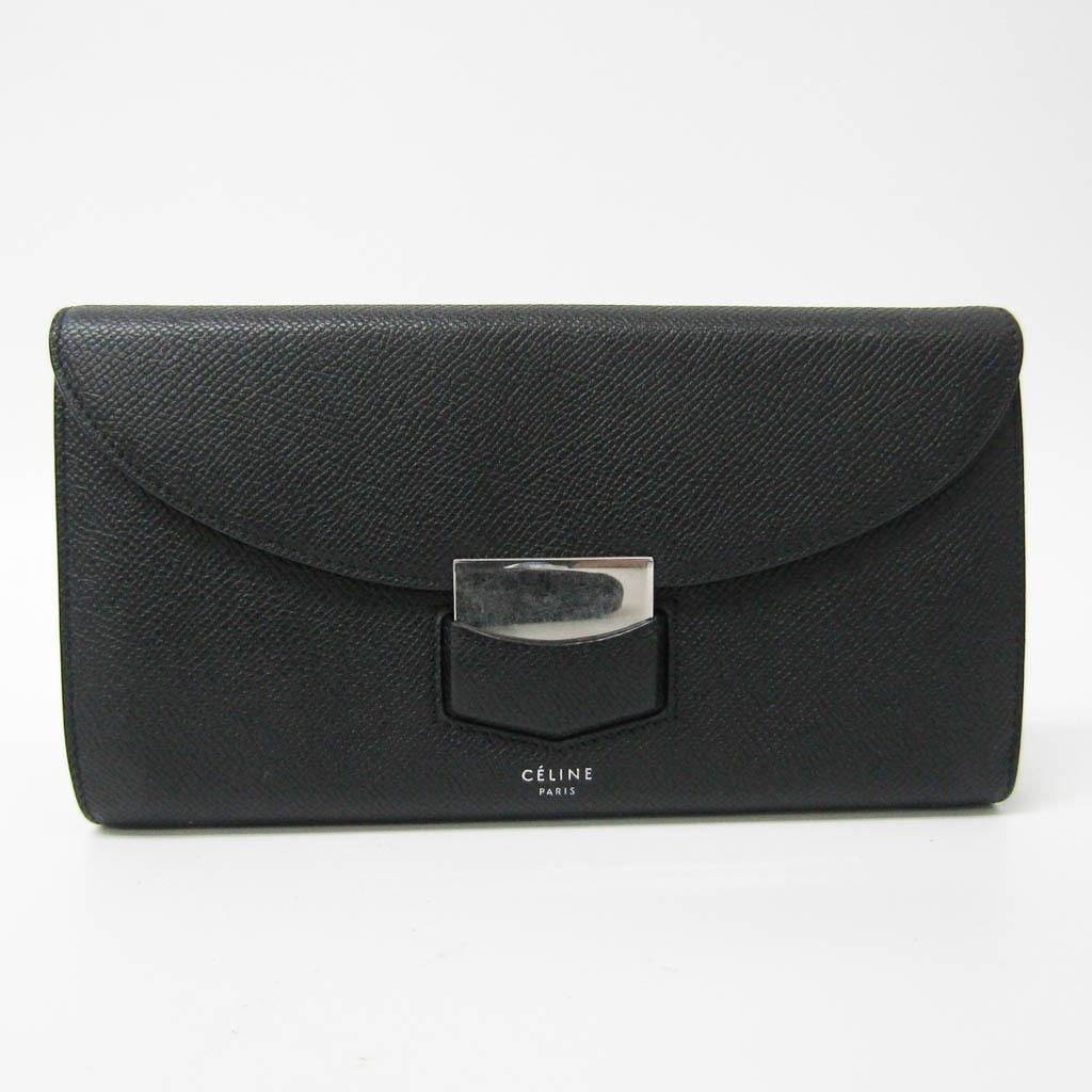 セリーヌ(Celine) トロッター ラージ フラップマルチファクション レディース レザー 長財布(二つ折り) ブラック