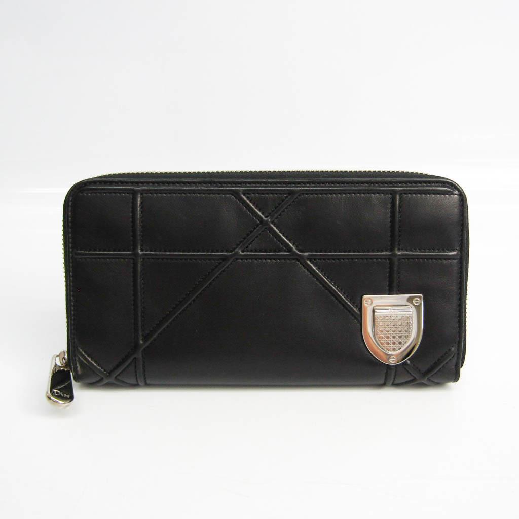 クリスチャン・ディオール(Christian Dior) ディオラマ レディース レザー 長財布(二つ折り) ブラック