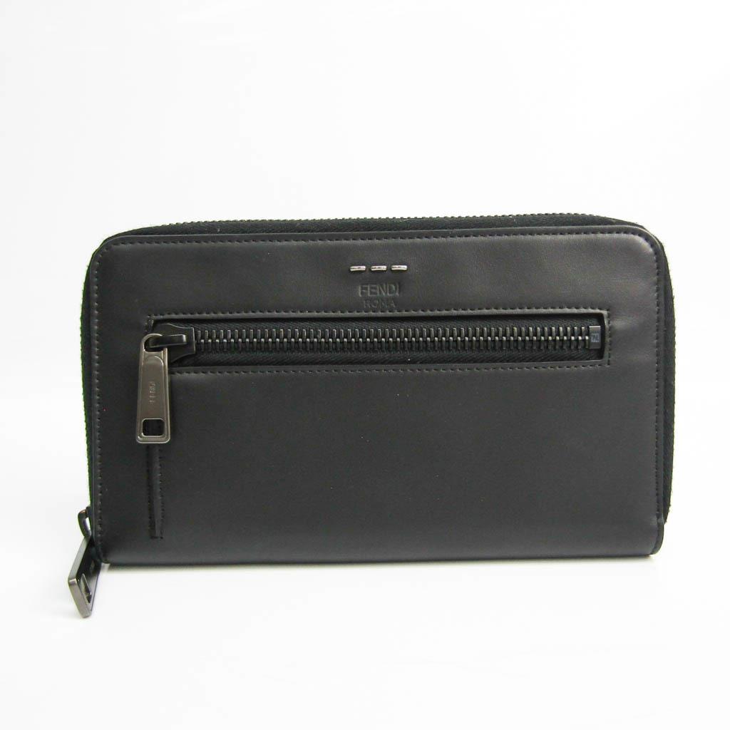 フェンディ(Fendi) セレリア 7M0235 ユニセックス レザー 長財布(二つ折り) ブラック
