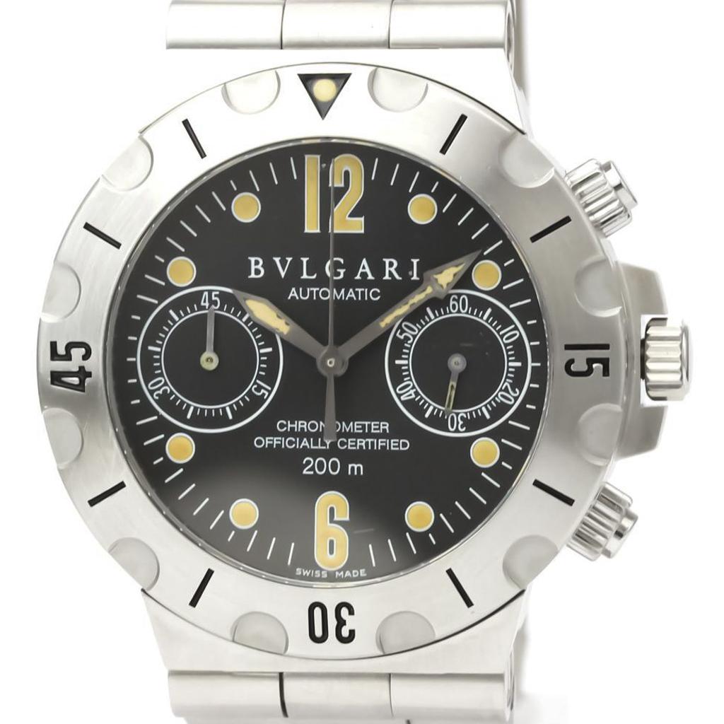 【BVLGARI】ブルガリ ディアゴノ スクーバ クロノグラフ ステンレススチール 自動巻き メンズ 時計 SC38S