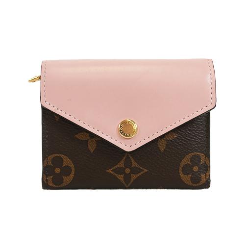 ルイヴィトン 三つ折り財布 モノグラム ポルトフォイユゾエ M62933  ローズバレリーヌ