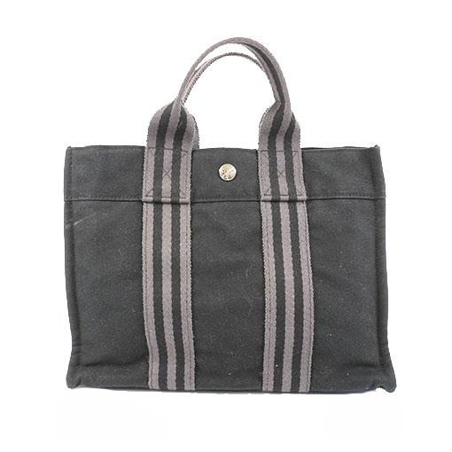 エルメス ハンドバッグ フールトゥ PM キャンバス ブラック シルバー金具