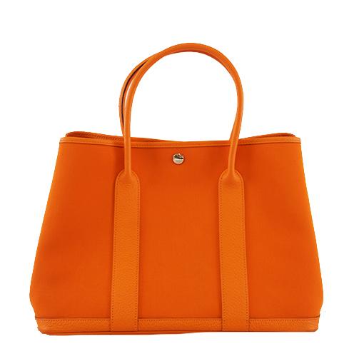 エルメス トートバッグ ガーデンパーティPM □R刻印 トワルオフィシエ オレンジ シルバー金具