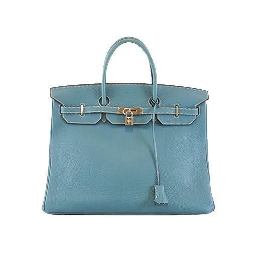 エルメス ハンドバッグ バーキン40 □J刻印 トリヨン ブルー シルバー金具