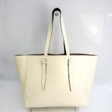 Valextra Unisex Leather Tote Bag Cream
