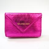 バレンシアガ(Balenciaga) ペーパー ミニウォレット 391446 レディース レザー 財布(三つ折り) メタリックピンク