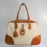 Prada Women's Leather,Canvas Handbag Cream,Light Brown