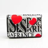 バレンシアガ(Balenciaga) ペーパー ミニウォレット 391446 レディース レザー 財布(三つ折り) ブラック,レッド,シルバー