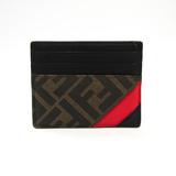 フェンディ(Fendi) 7M0164 レザー コーティングキャンバス カードケース ブラック,ブラウン,レッド