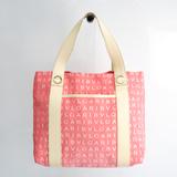 Bvlgari Logomania Women's Canvas,Leather Handbag Cream,Pink,White
