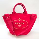 プラダ(Prada) カナパ ファブリック 1BG163 レディース レザー,キャンバス ハンドバッグ,ショルダーバッグ ブラウン,ピンク