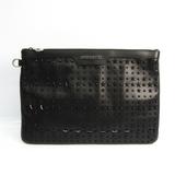 Jimmy Choo DEREK Unisex Leather Studded Clutch Bag Black