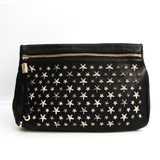 Jimmy Choo ZENA Women's Leather Clutch Bag Black