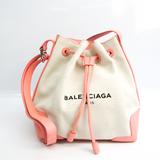 バレンシアガ(Balenciaga) ネイビーバケット 409000 レディース レザー,キャンバス ショルダーバッグ ライトピンク,オフホワイト