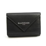 バレンシアガ(Balenciaga) ペーパー ミニウォレット 391446 レディース レザー 財布(三つ折り) ブラック