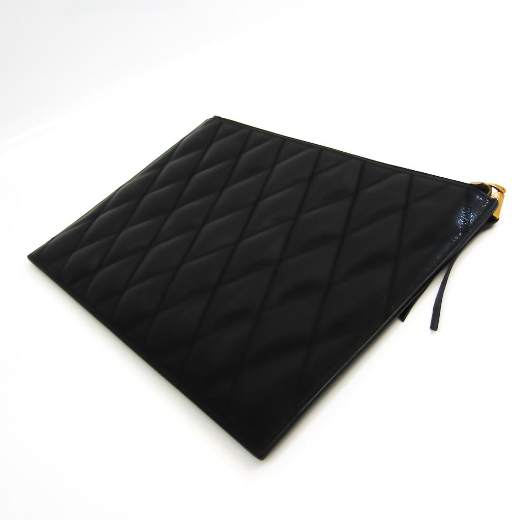 Givenchy Diamond Quilting BB602QB08Z Unisex Leather Clutch Bag Black