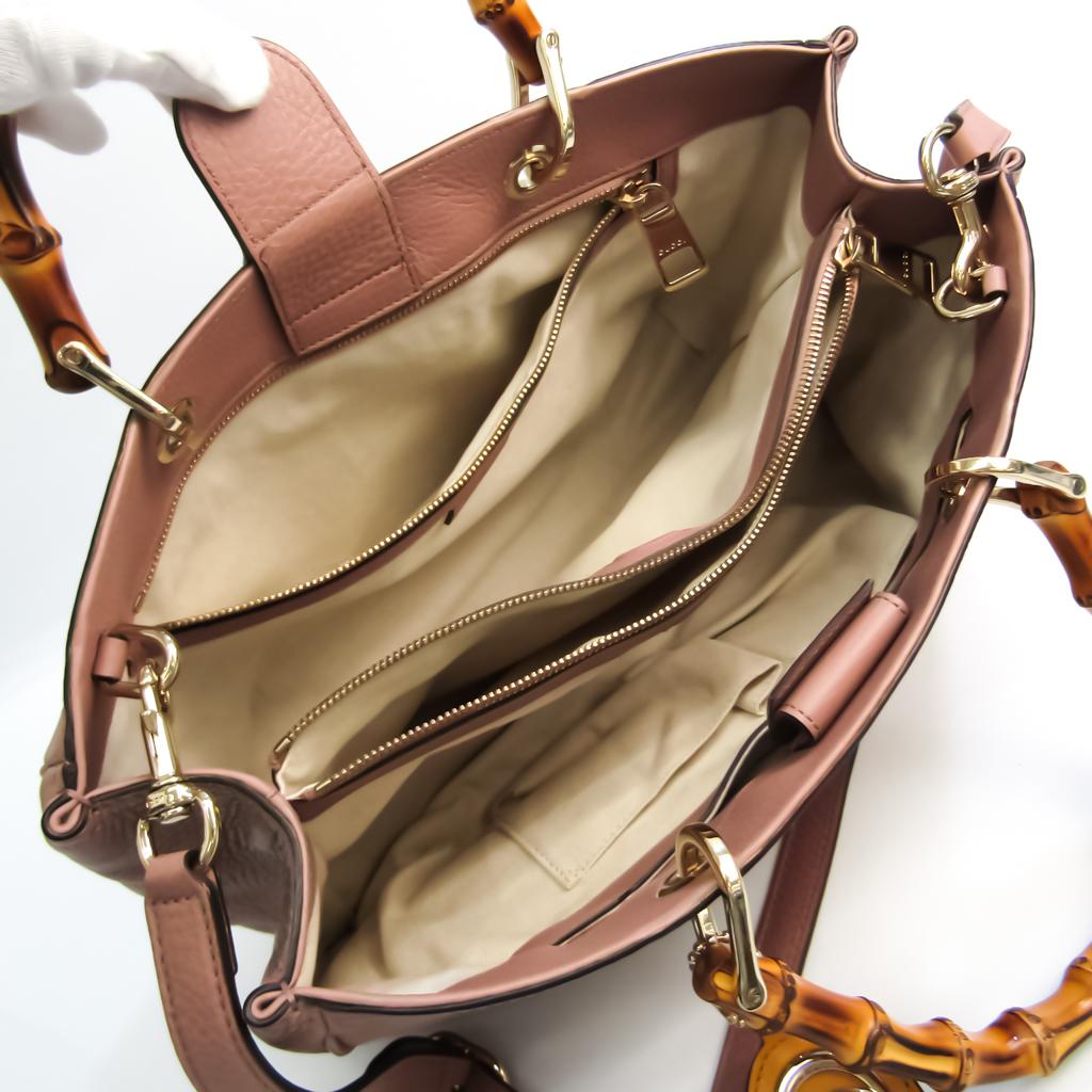 Gucci Bamboo Shopper Medium 323660 Women's Leather,Bamboo Handbag,Shoulder Bag Dusty Pink
