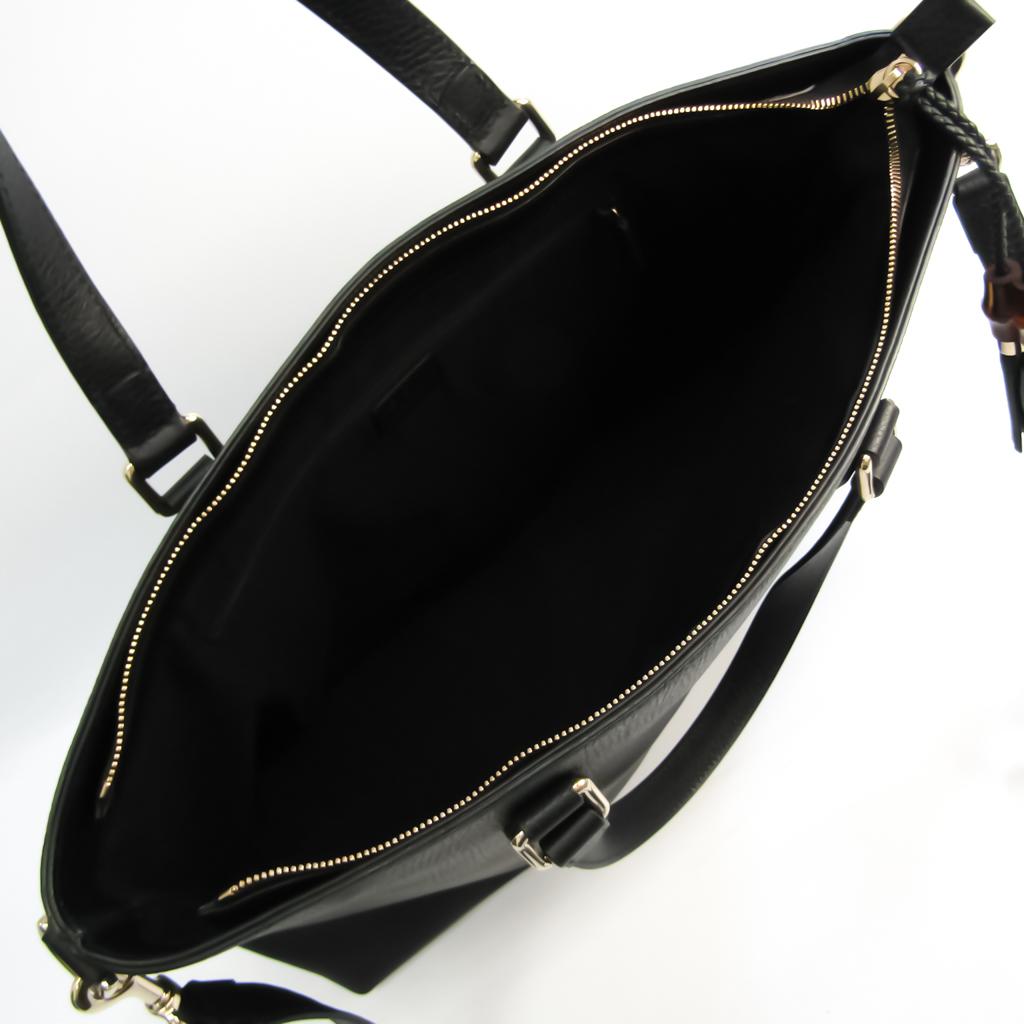 Gucci Bamboo Fringe 365345 Unisex Leather,Bamboo Handbag,Shoulder Bag Black