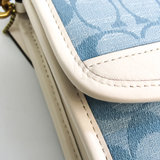 Coach Signature Kip C4676 Women's Leather,Canvas Handbag,Shoulder Bag Blue,Off-white